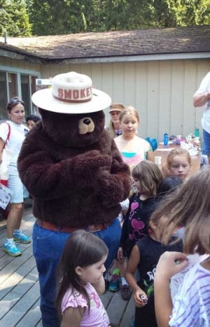 The kids helped Smokey Bear celebrate his 70th Birthday, and of course he taught them about fire safety.