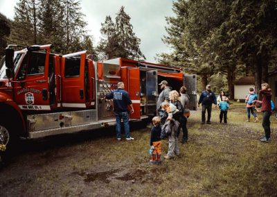 Firemen bring the truck