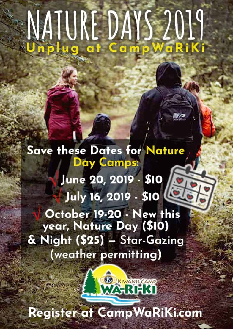 Camp Wa-Ri-Ki Nature Days 2019 Set with New Overnighter 1